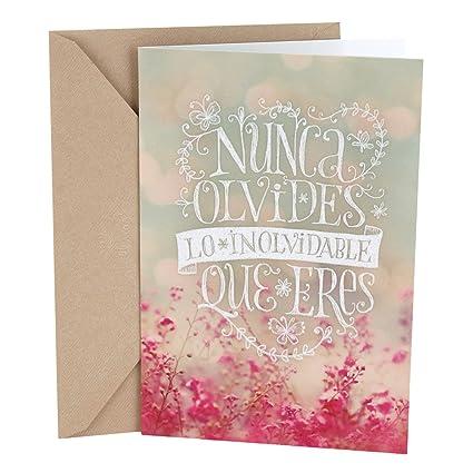 Hallmark Vida Spanish Birthday Greeting Card Pink Flowers