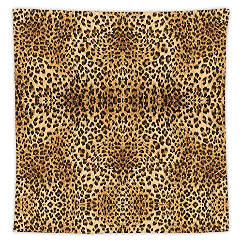 Brown Tablecloth Leopard Print Animal Skin Digital Printed Wild African Safari Themed Spotted Pattern Dining Room Kitchen Rectangular Table (Music Themed Tablecloths)