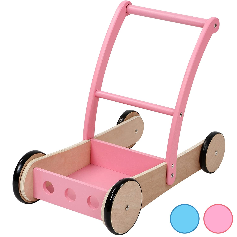 Lauflernwagen Holz Rosa - Infantastic Lauflernwagen