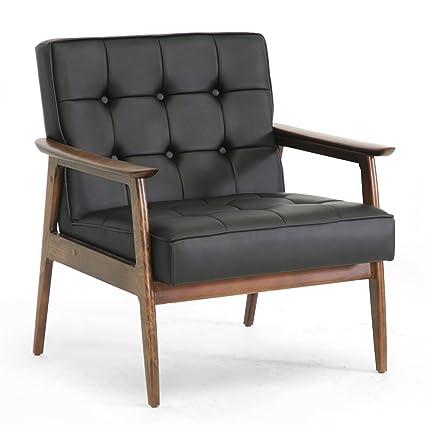 Baxton Studio Stratham Mid Century Modern Club Chair, Black
