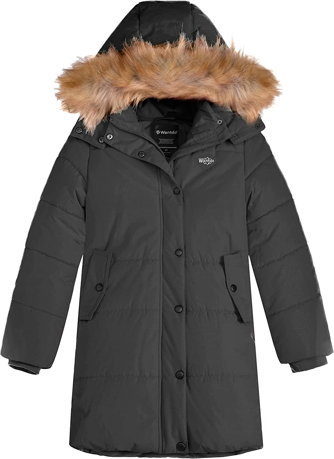 Wantdo Girl's Water-Resistant Winter Coat Thicken Fleece Lined Puffer Jacket Hooded Parka: Clothing