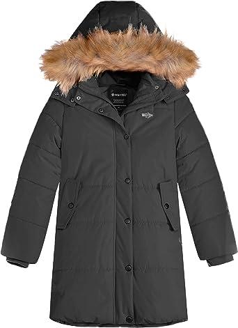 Wantdo Girls Lightweight Down Jacket with Faux Fur Collar Hooded Puffer Winter Coat
