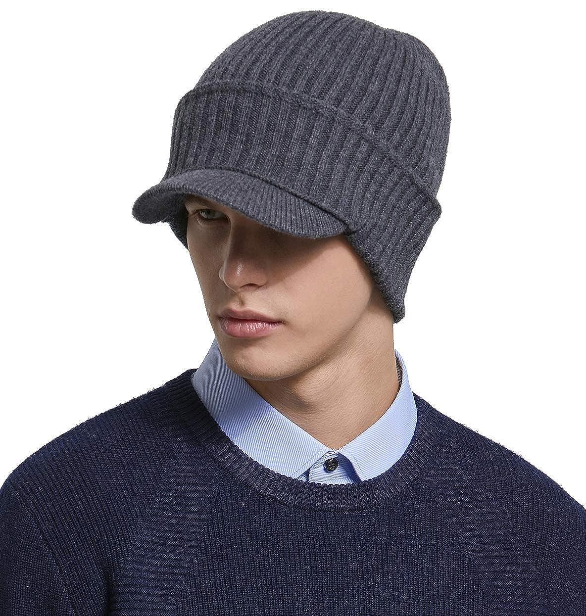 RIONA Mens 100/% Australian Merino Wool Knit Visor Beanie Hat w//Visor Warm Skull Caps