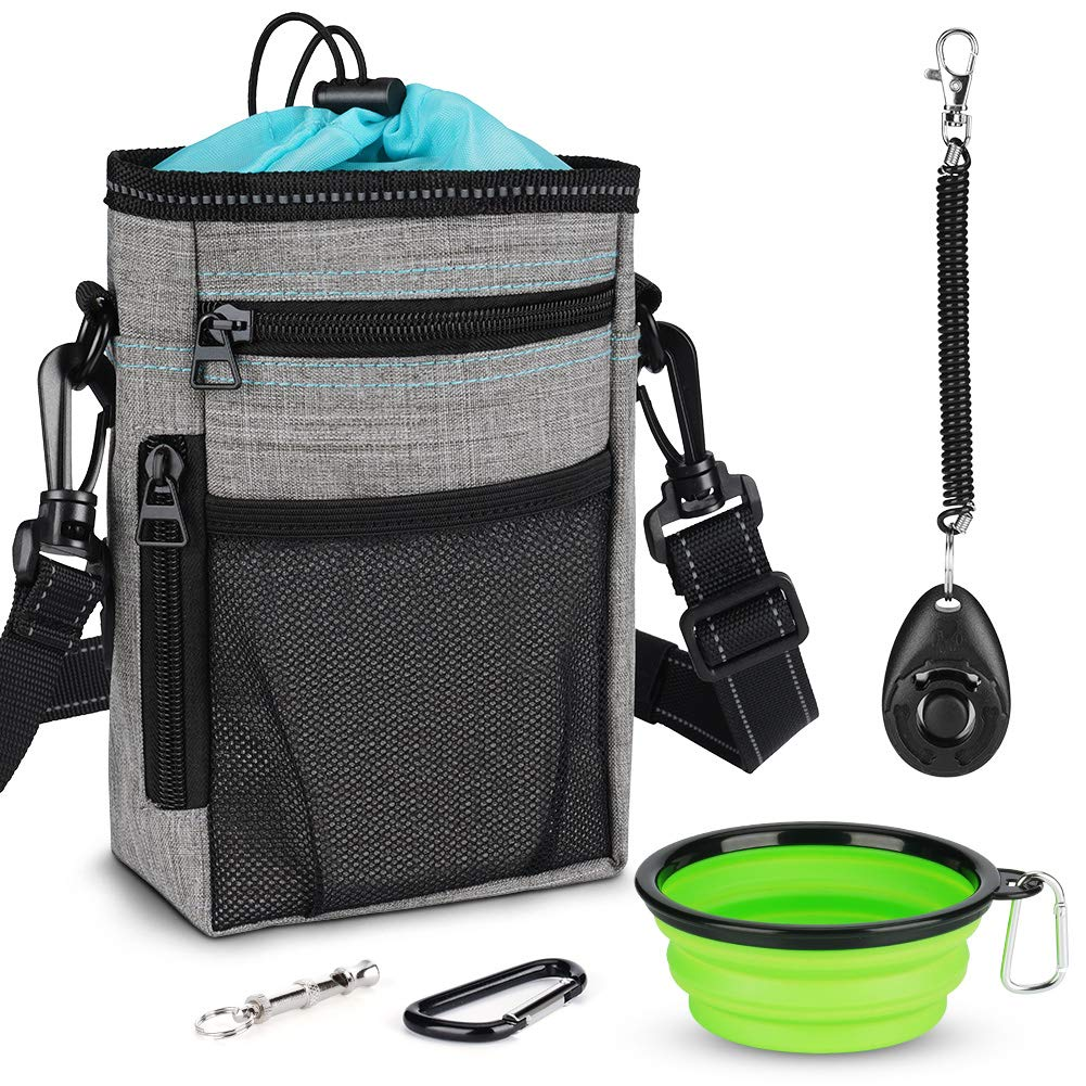 Tasera Dog Treat Training Pouch with Built-in Waste Bag Dispenser,Adjustable Waist Belt and Over Shoulder Strap, Collapsible Drinking Bowl, Dog Training Clicker andDog Whistle by Tasera