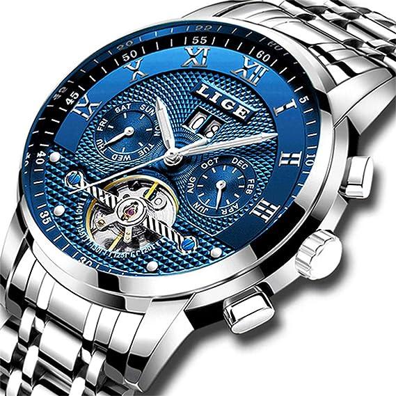 LIGE Impermeable para Hombre Acero Inoxidable Reloj Mecánico Automático Negocios Vestido de Reloj de Pulsera …