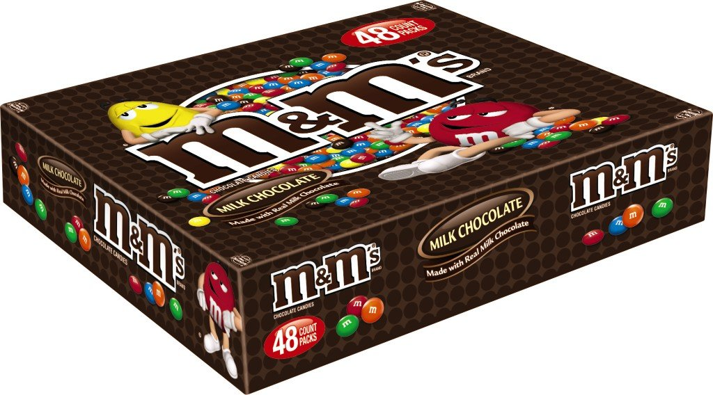 M&M'S Milk Chocolate Candy Singles Size 1.69-Ounce Pouch 48-Count Box by M&M'S