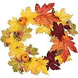 DearHouse 13 Inch Artificial Autumn Fall Wreath, Harvest Thanksgiving Door Wreath for Front Door with Pumpkins, Maple…