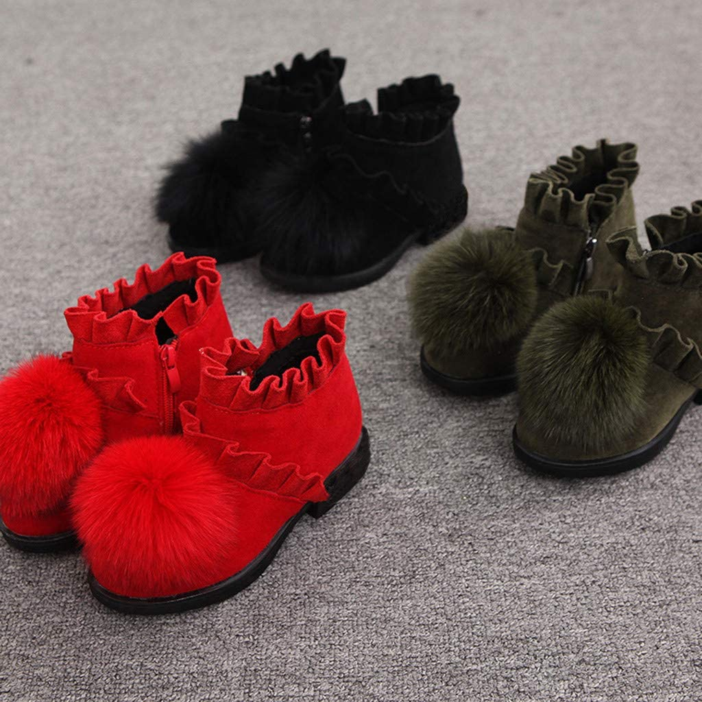 Girls Children Winter Warm Shoes Snow Boots Cotton Padded Warm Beanie Shoes Princess Shoes 4-12 Years Old