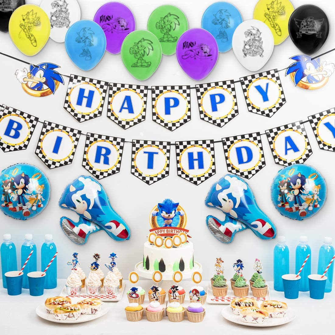 Amazon Com Sonic The Hedgehog Party Supplies 54pcs Birthday Decorations Party Favors Include Banner Cupcake Toppers Foil Balloons And Latex Balloons Toys Games