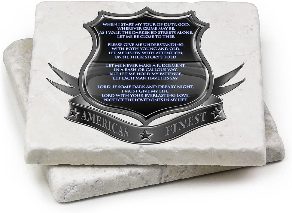 Natural Stone Coasters – Police Gifts for Men or Women – Police Law Enforcement Beverage & Beer Coasters – Policeman's Prayer Gift Box (Set of 2)