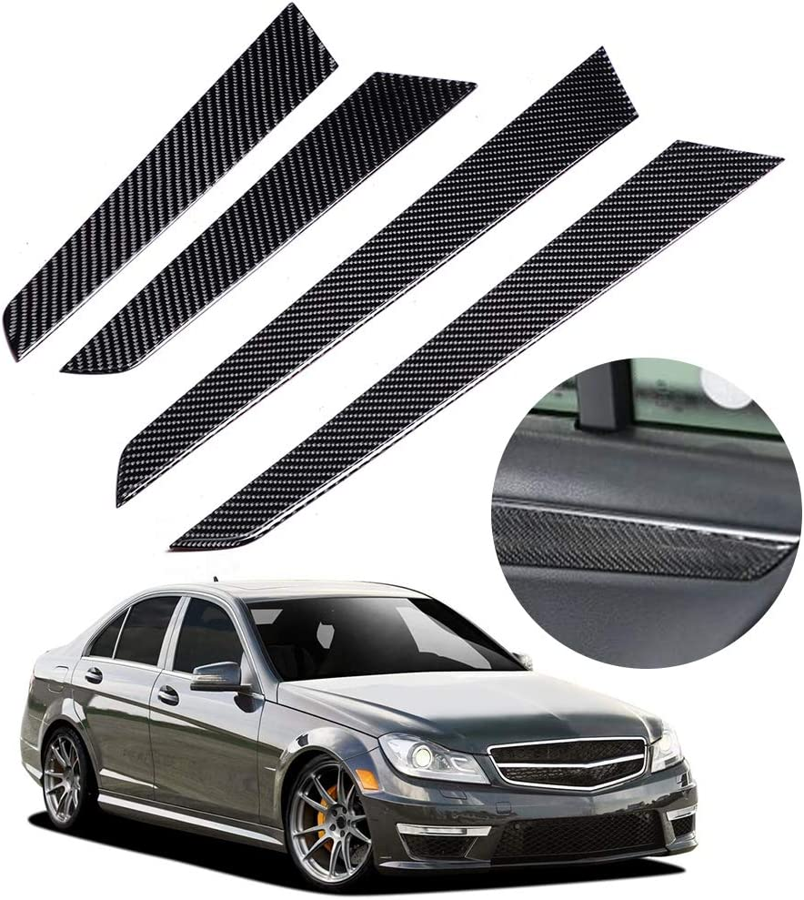 4PCS Interior Door Panel Cover Trim Real Carbon Fiber Fit for Mercedes c-class W204 07-13 Door Sill Sticker Panel Protector Interior Panel Cover