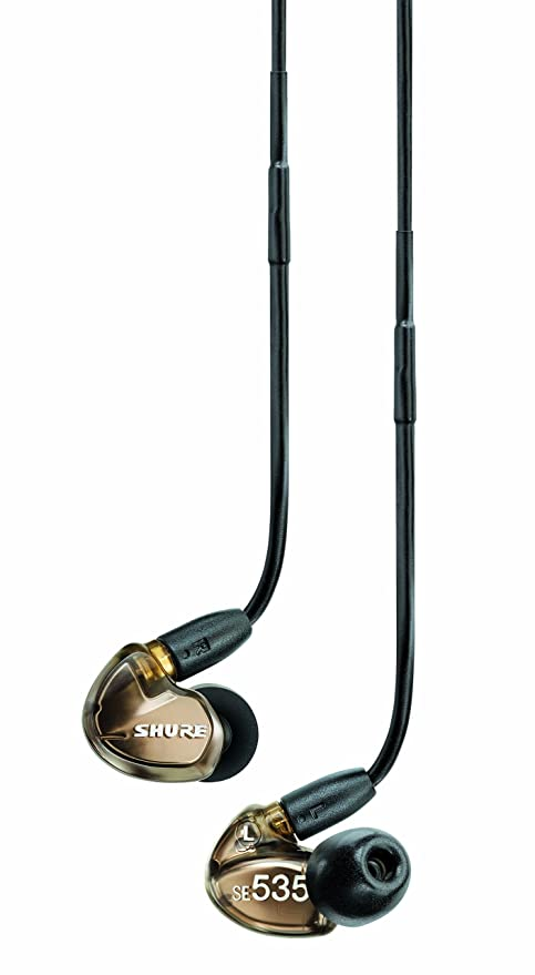 Shure SE535-V Triple High-Definition MicroDriver Earphone with Detachable Cable - Metallic Bronze Mobile Phone Wired Headsets at amazon