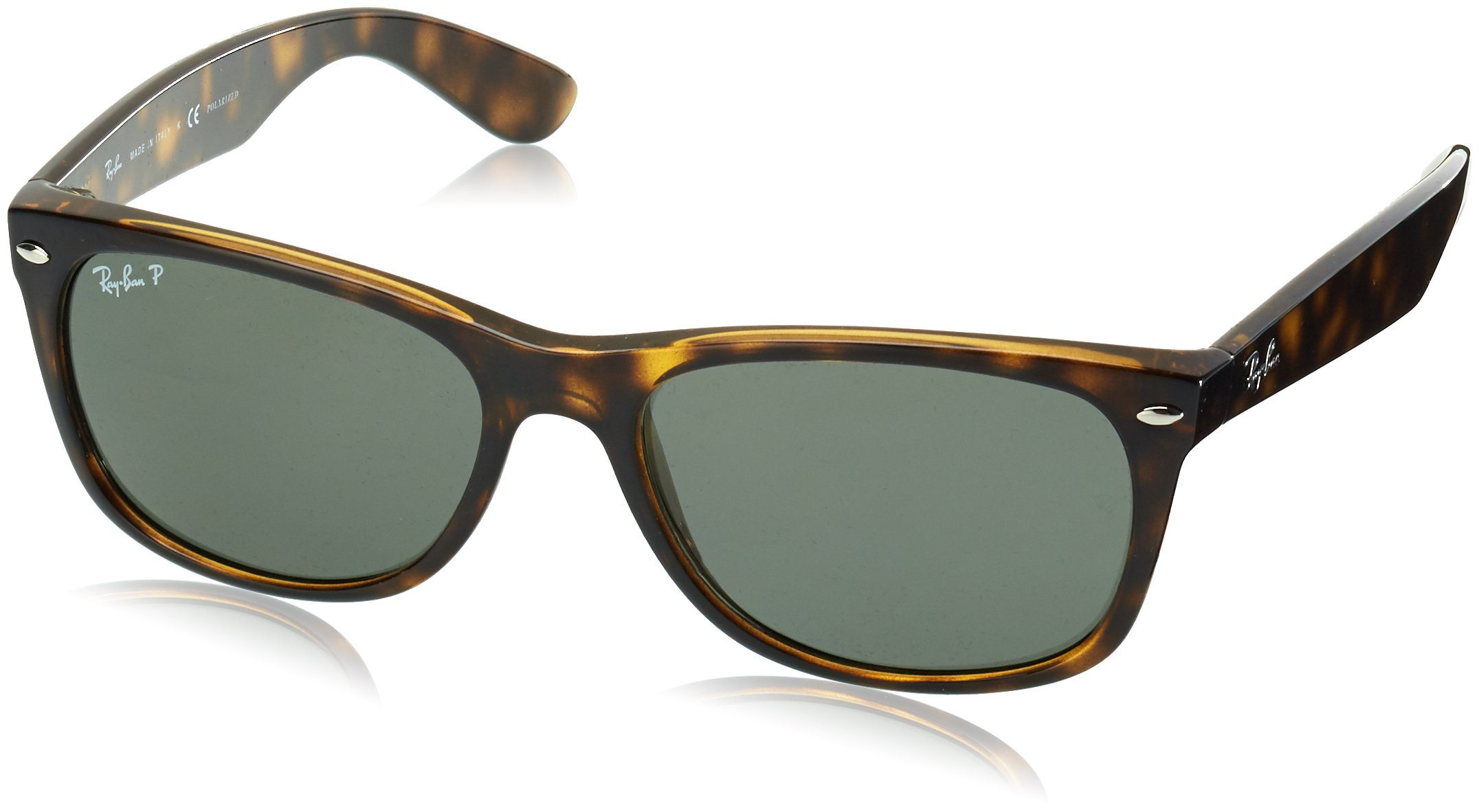 RAY-BAN RB2132 New Wayfarer Polarized Sunglasses, Tortoise/Polarized Green, 58 mm by RAY-BAN