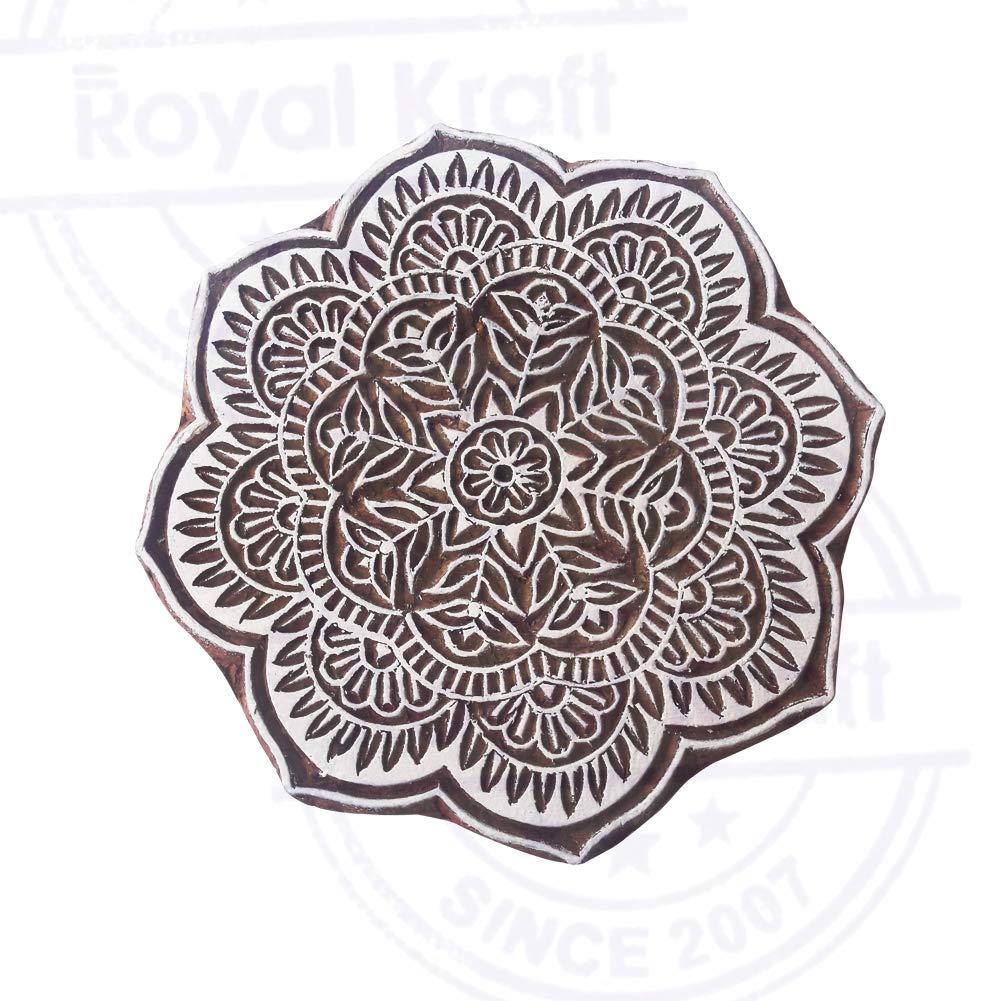6 Inch Innovative Large Wooden Block Round Floral Design Big Printing Stamp