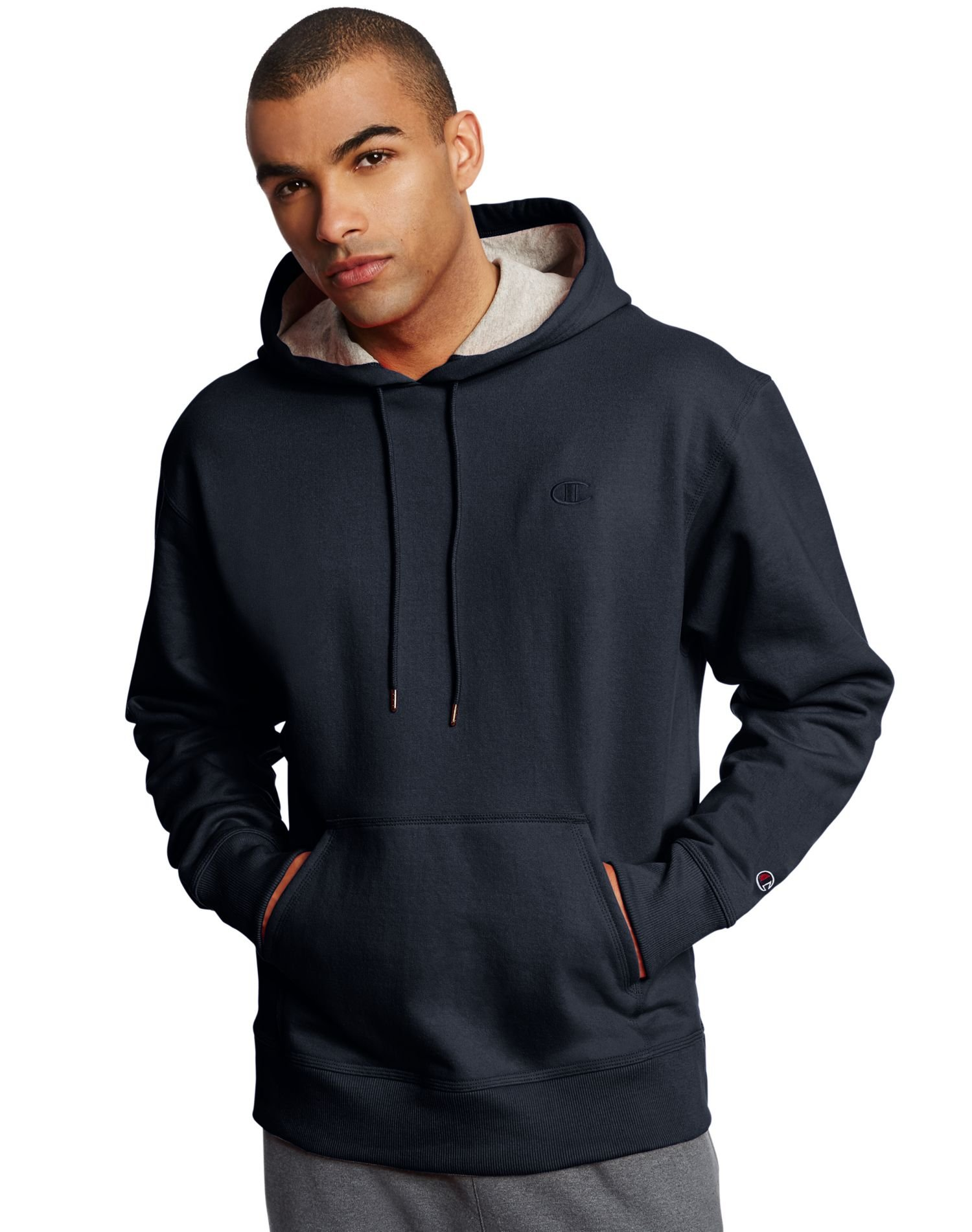 Champion Men's Powerblend Pullover Hoodie, Navy, Small