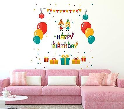 luke and lilly happy birthday design vinyl wall sticker 78 80cm