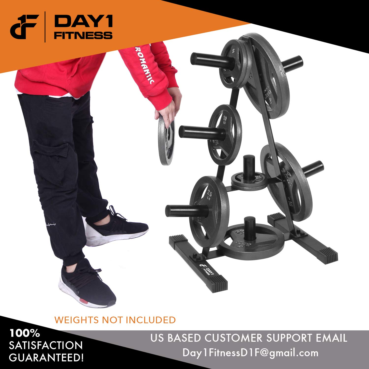 Olympic Weight Plate Rack, Holds up to 500lb of 2'' Weights by D1F - Black Weight Holder Tree with 7 Branches for Stacking and Storing High Capacity Weights- Heavy-Duty, Durable Triangle Plate Racks by Day 1 Fitness (Image #6)