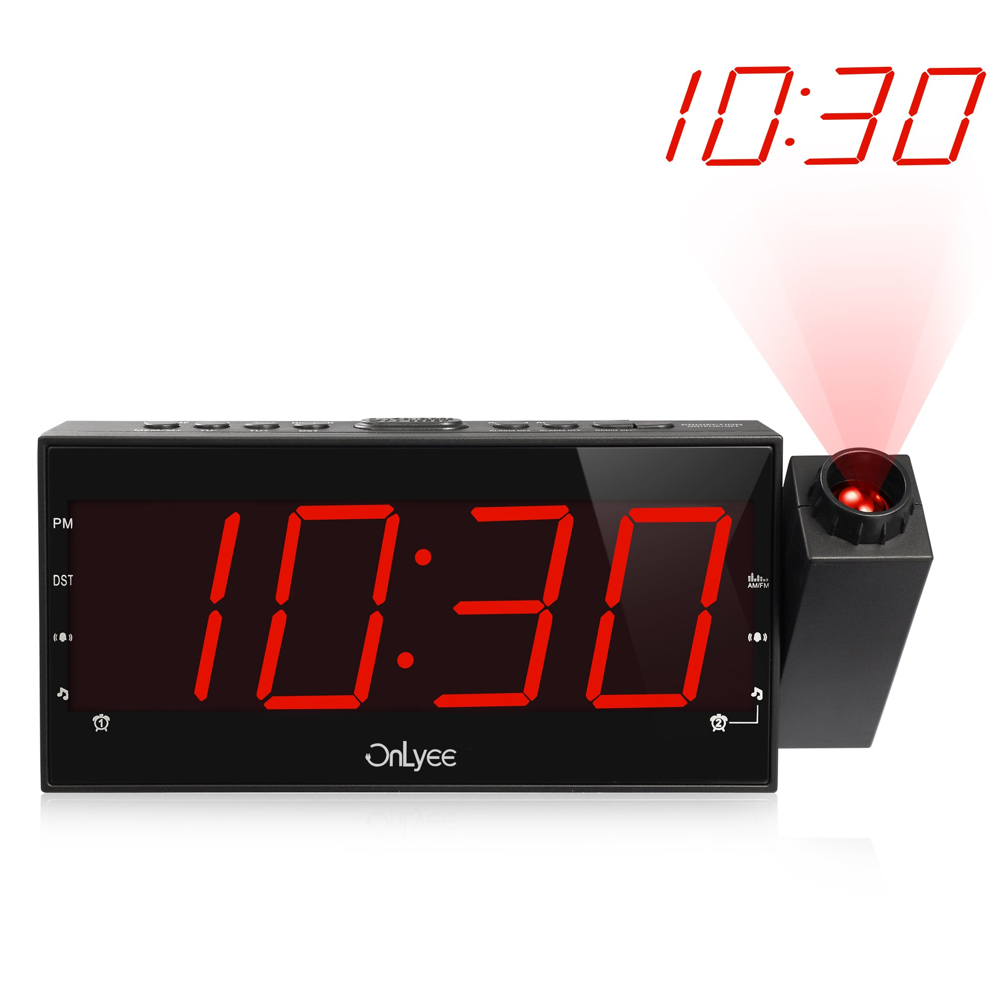 """OnLyee Projection Clock with AM/FM Radio, Sleep Timer, Bedroom Desk Wall Ceiling Clock, 7"""" LED Display, 3 Dimmer, Dual Alarm, USB Charging Port for Travel, Bedrooms, Ceiling, Kitchen, Desk, Shelf"""