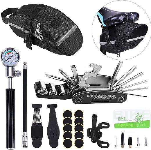 Multifunction Bike Repair Tool Kits, Cycling Bicycle Repair DIY Handy tool Set, 16 in 1 Screwdriver, Bicycle Tire Repair Tools Kits Hand Air Pump Hose Universal Cycling Bike Saddle Bag Cycling kits