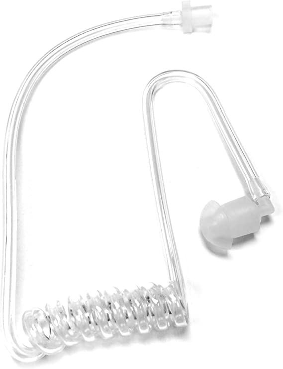 Pack of 5 Clear Coiled Acoustic Tube Replacement for Two Way Radio Earpiece Black