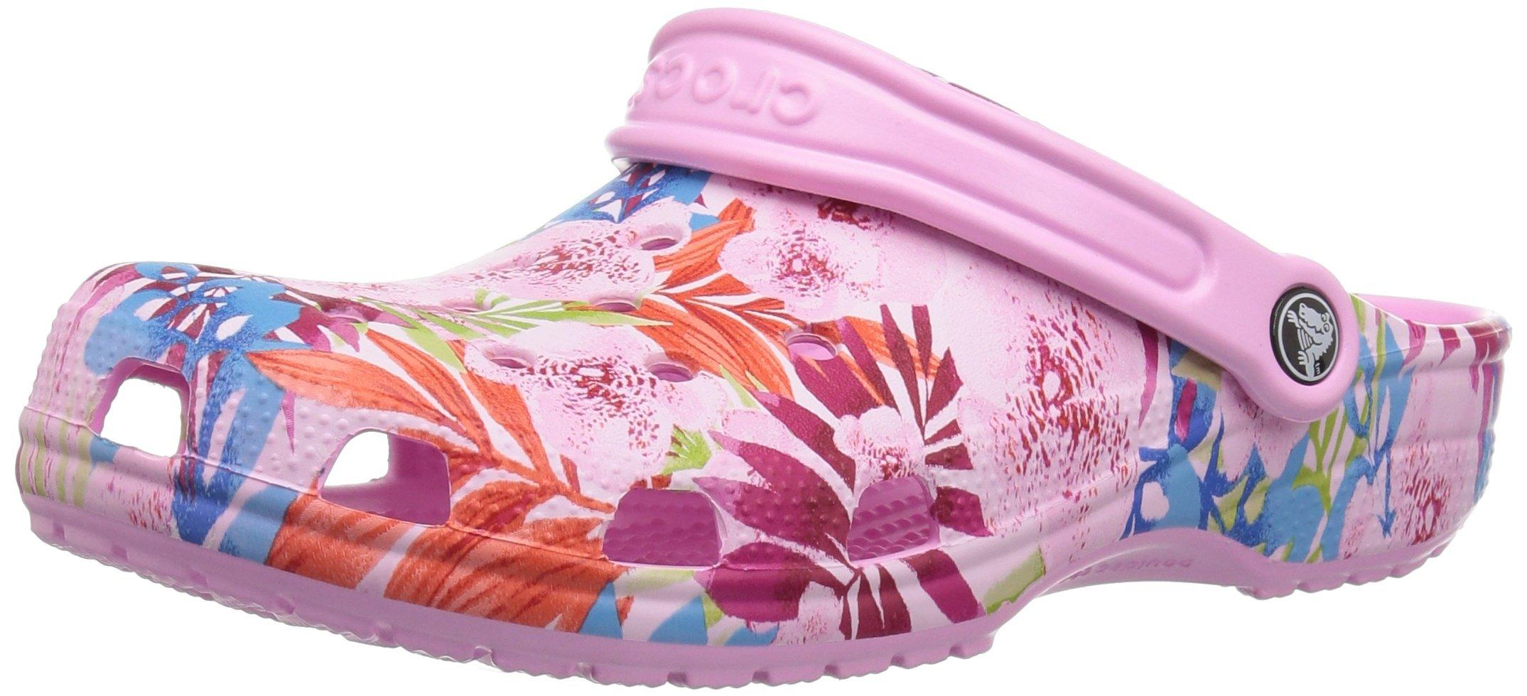 Crocs Unisex Classic Printed Clog Mule, Carnation/Candy Pink, 6 US Men / 8 US Women