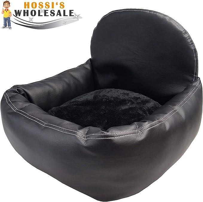 Hossi S Wholesale Hundeautositz Mit Sicherheitsgurt Flauschiger Autositz Für Hunde Hundesitz Kunstleder Schwarz 50x55x20cm Haustier