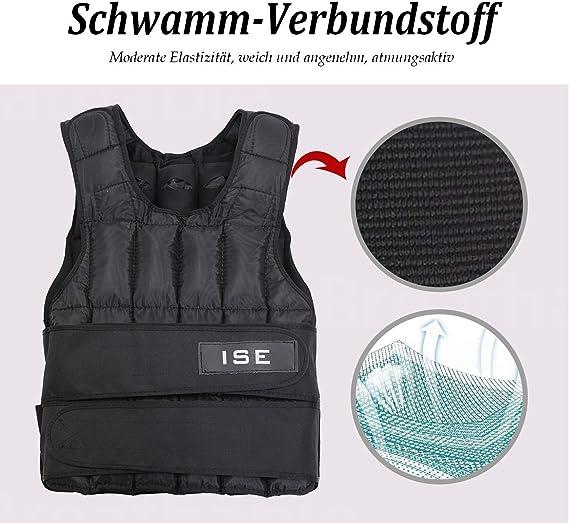 ISE SY3002 - Chaleco con peso ajustable de 5 kg, 10 kg, 15 kg, 20 kg, 25 kg, 30 kg, para entrenamiento de musculación