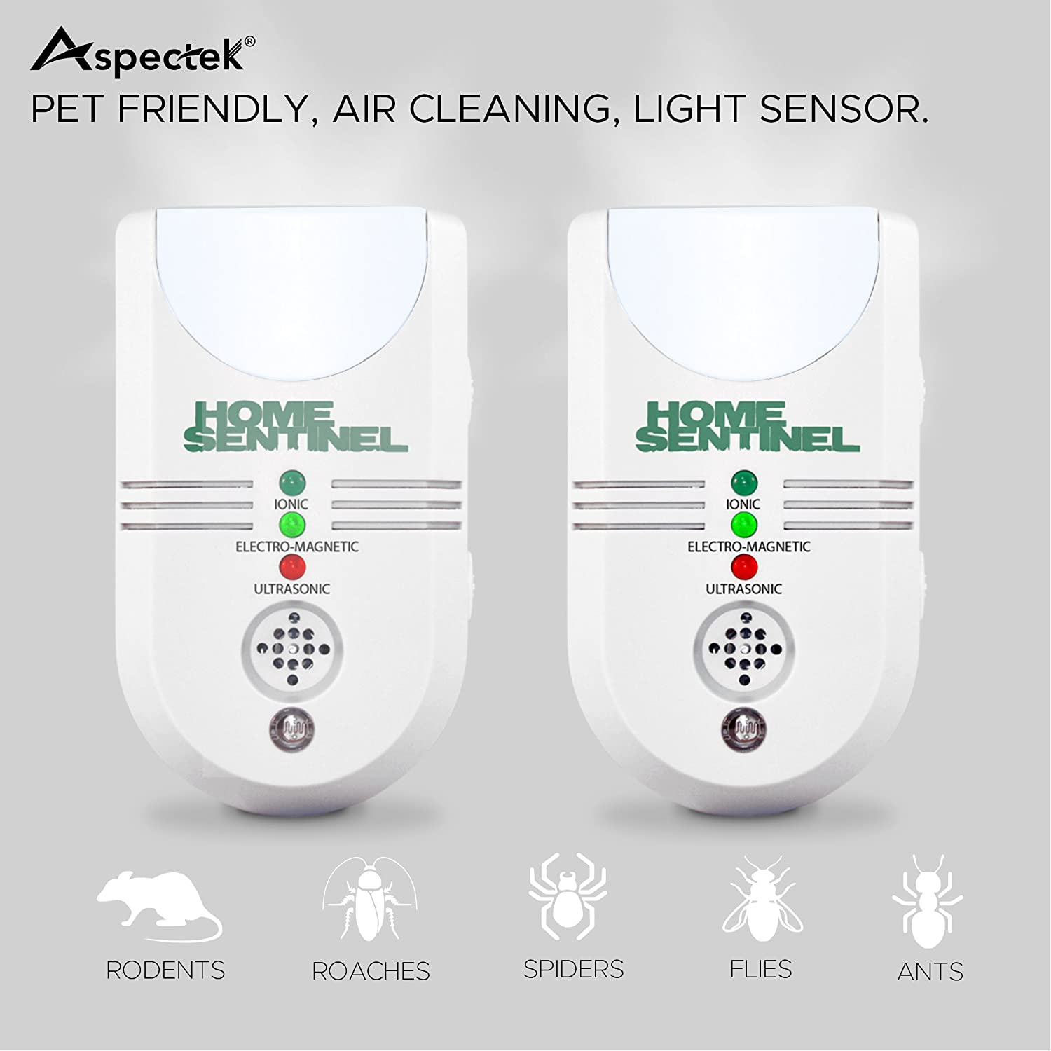 Aspectek - Home Sentinel 5 in 1 Indoor Pest Repeller Ultrasonic Pest Control Pest Repellent
