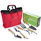 Essential Garden Hand Tool Set - 6 piece set with Cherry Red, Weather-Resistant Storage Bag - Gardening and Planting Kit Essentials - Sharp, Durable Steel Planter Accessories with Ergonomic Ash Wood Handles