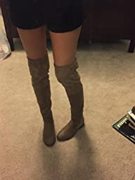Amazon.com   Fashion Thirsty Womens Low Heel Thigh High Over The ...