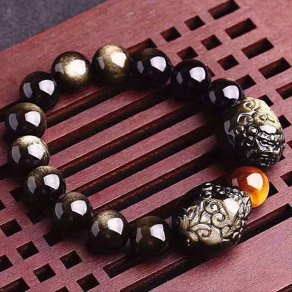 NOBRAND Pulseras Redondas de Piedra de obsidiana Natural de Oro Negro con Cuentas Dobles de Pixiu Suerte Fengshui Jewelry
