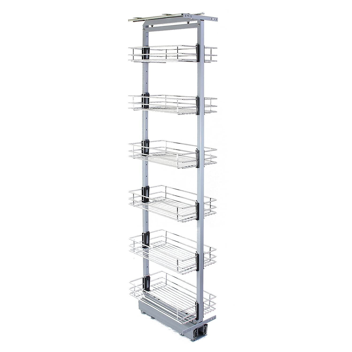 KuKoo Pull Out Kitchen Larders, 46cm D, 170-195cm H, Soft Close Slide Out, Storage Cabinet Wire Baskets MonsterShop