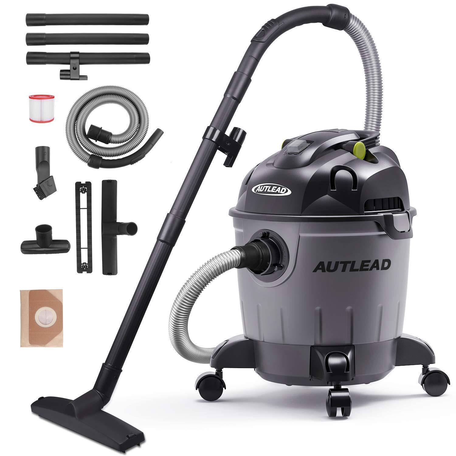 AUTLEAD Wet Dry Vacuum WDS01A 5 Gallon Pure Copper Motor 5.5 HP Wet/Dry/Blow 3 in 1 Shop Vac, Stable Round Bucket Design with Pulley System, HEPA Disposable Bag, 3 Brush Included[US Stock]