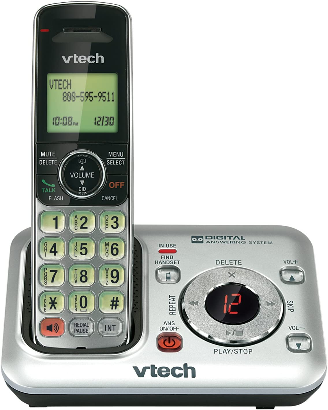 VTech CS6429 DECT 6.0 Cordless Phone with Answering System and Caller ID, Expandable up to 5 Handsets, Wall-Mountable, Silver/Black