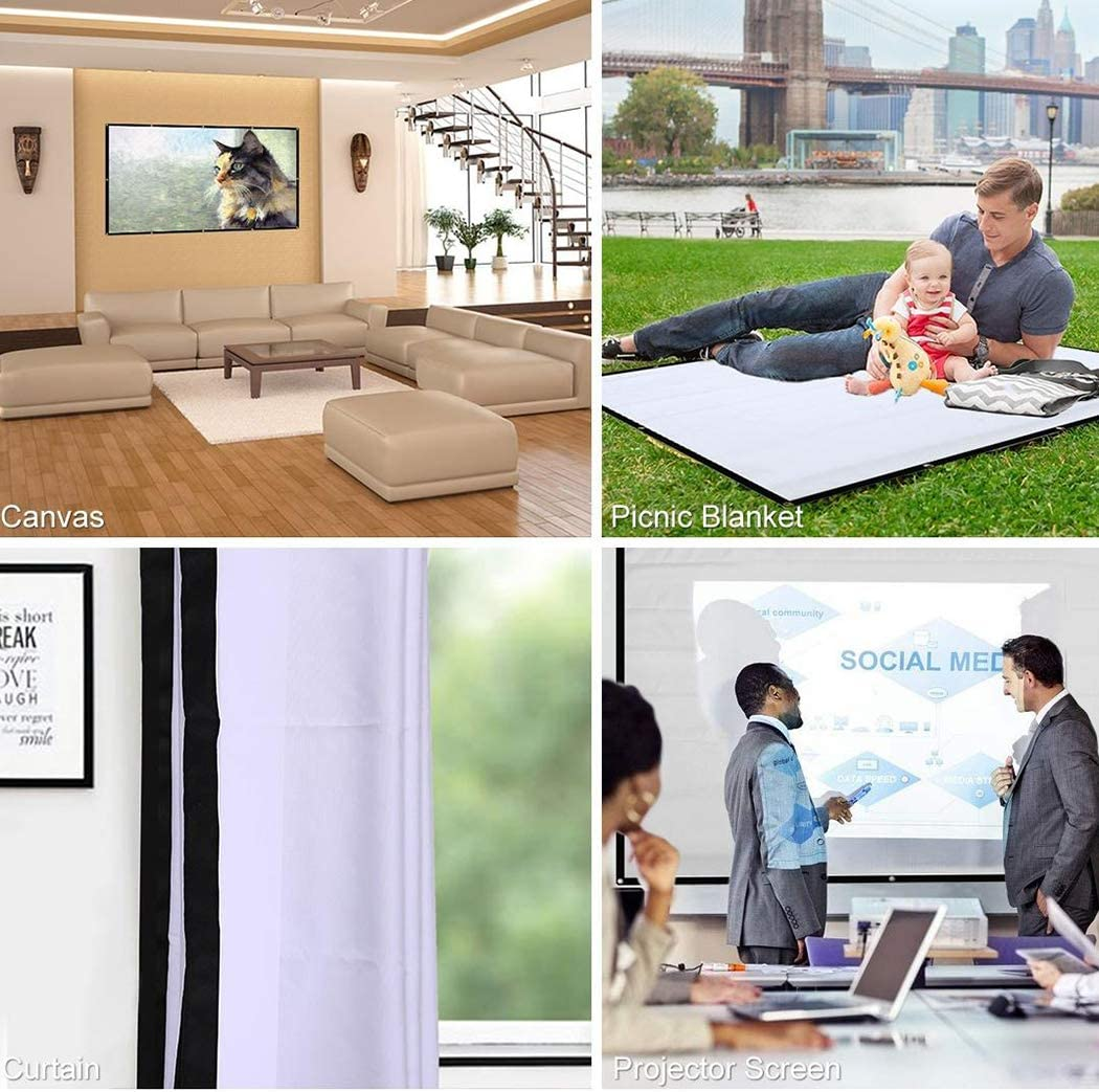 HD Projector Screen,Portable Folding Anti-Crease Indoor Outdoor Projector Movies Screen for Home,Screen Size 60inch,72inch,84inch,92inch,100inch,110inch,120inch,133inch,150inch 57.5 x 43.3inch