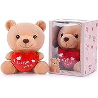 Gloveleya I Love You Stuffed Teddy Bear with Heart Plush Toy Gift 6 Inches with Box