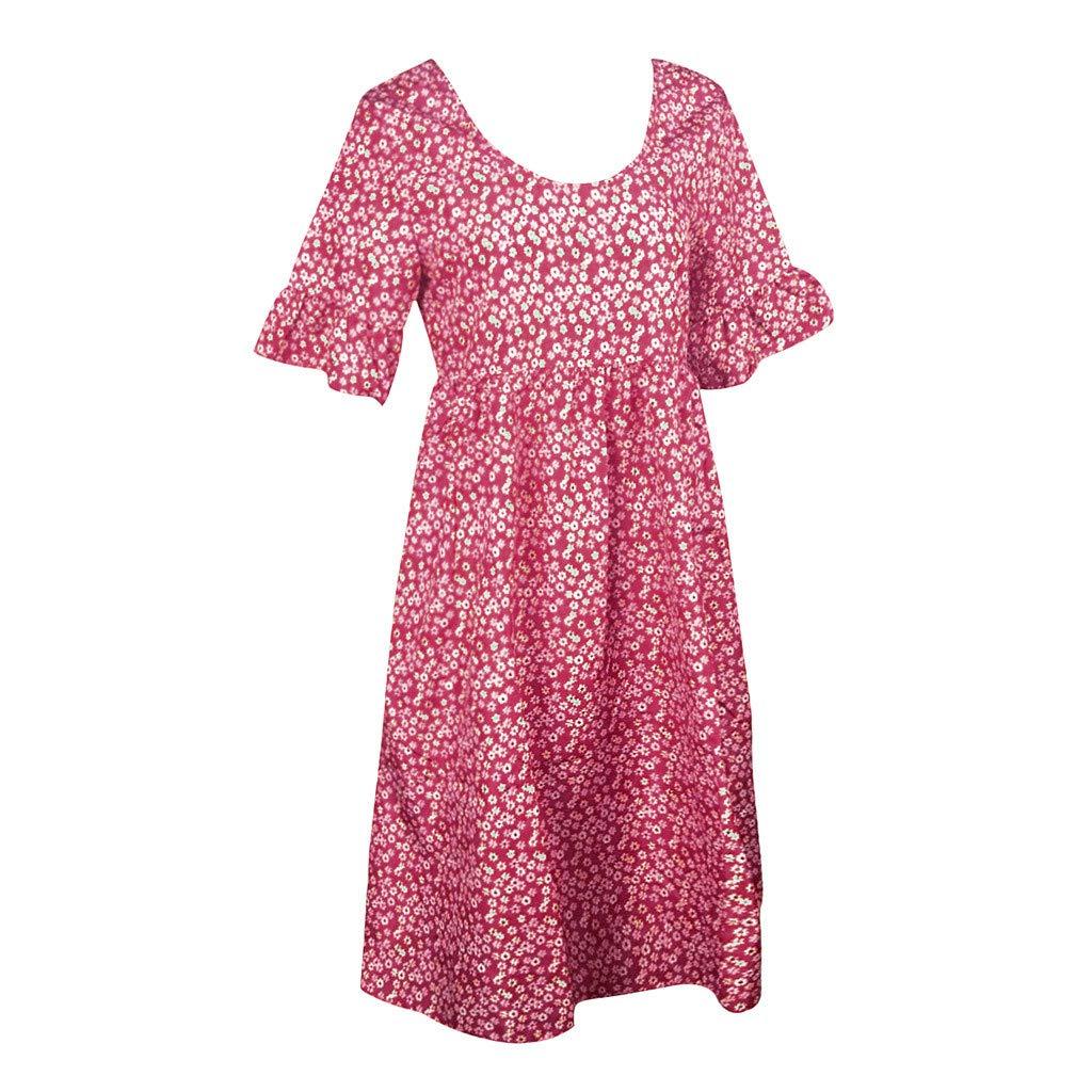 Sunhusing Womens Round Neck Floral Printed Ruffled Sleeve Lace Trim Dress Summer Loose Chiffon Sundress
