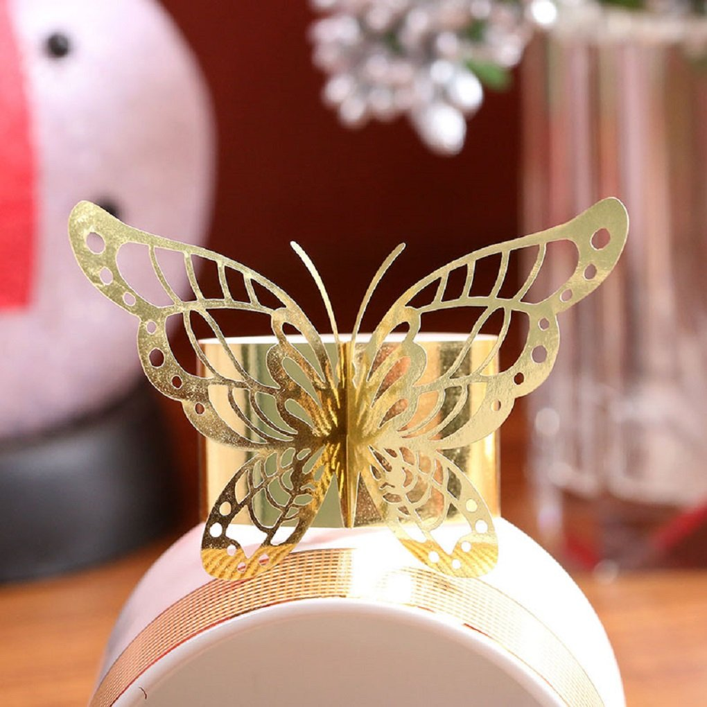 The Crafty Owl Gold or Silver Laser Cut Paper Butterfly Napkin Rings Wedding Party Table Decoration 24 Pieces Gold