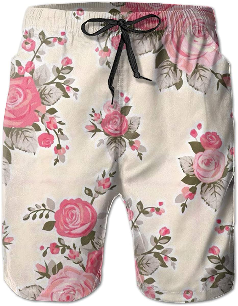 Angel kuy Rococo Roses Mens Beach Shorts Swimming Trunks Quick Dry Board Trunks with Lining