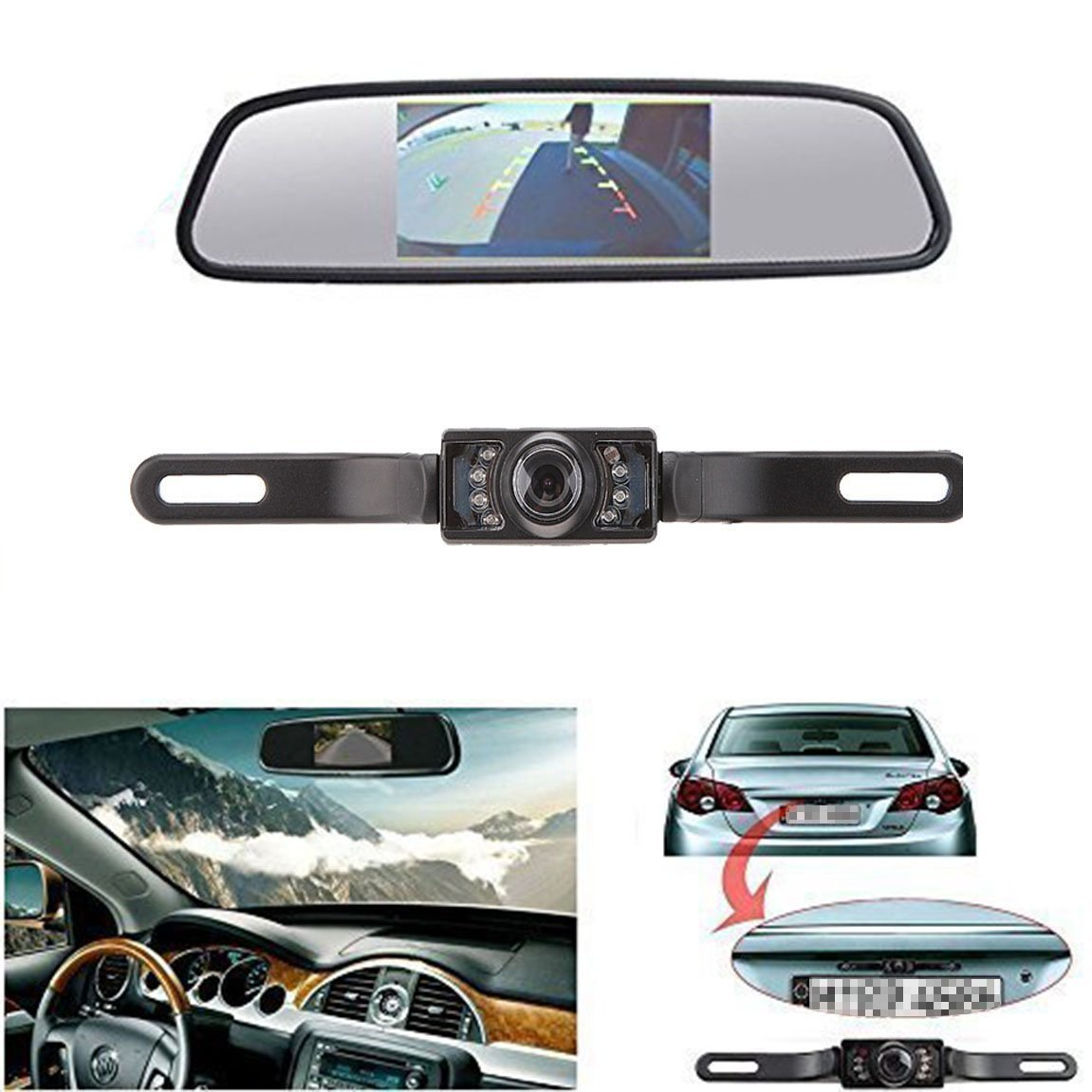 Leekooluu Cmos Reverse/Rear View Camera And Monitor Kit For Car With 7 Led Ni.. 18