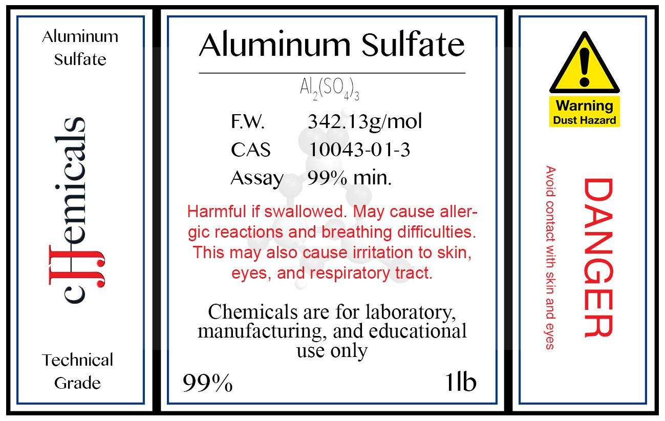 Aluminum Sulfate ''Al2(SO4)3'' Minimum 99% pure! 4 pounds in BOTTLES