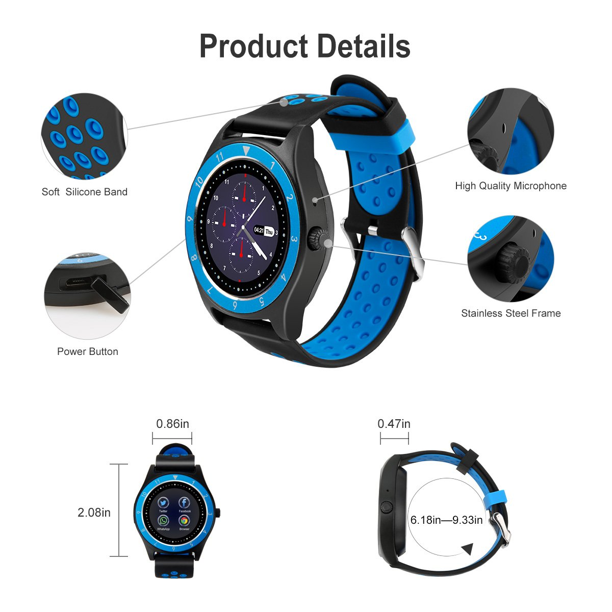 Smart Watch,Bluetooth Smartwatch Touch Screen Wrist Watch with Camera/SIM Card Slot,Waterproof Phone Smart Watch Sports Fitness Tracker for Android iPhone IOS Phones Samsung Huawei for Kids Women Men by Topffy (Image #7)