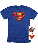 Popfunk Superman Classic Logo Distressed Heather T-Shirt & Exclusive Stickers