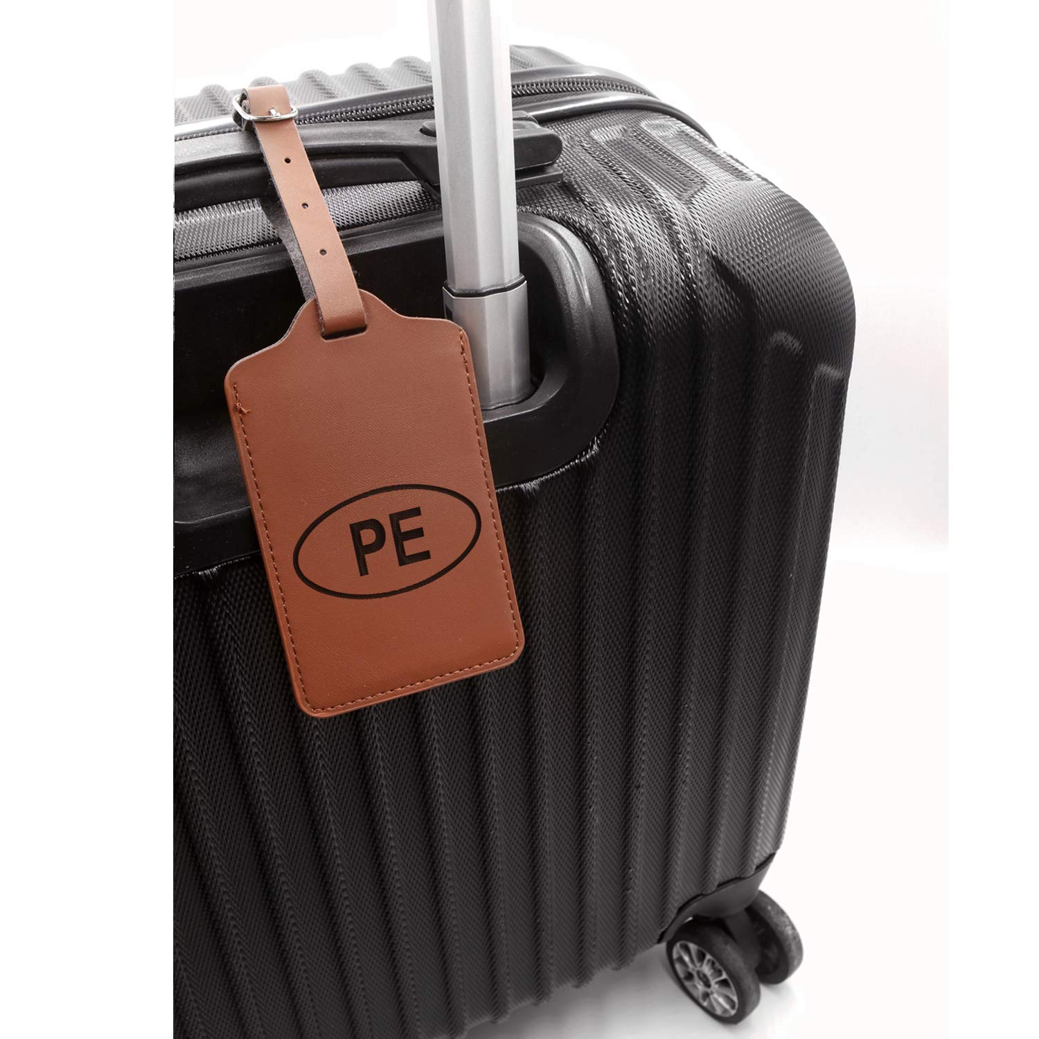 Lima Peru Stickers Engraved Synthetic Pu Leather Luggage Tag - United States Standard London Tan - Set Of 2 Handcrafted By Mastercraftsmen For Any Type Of Luggage