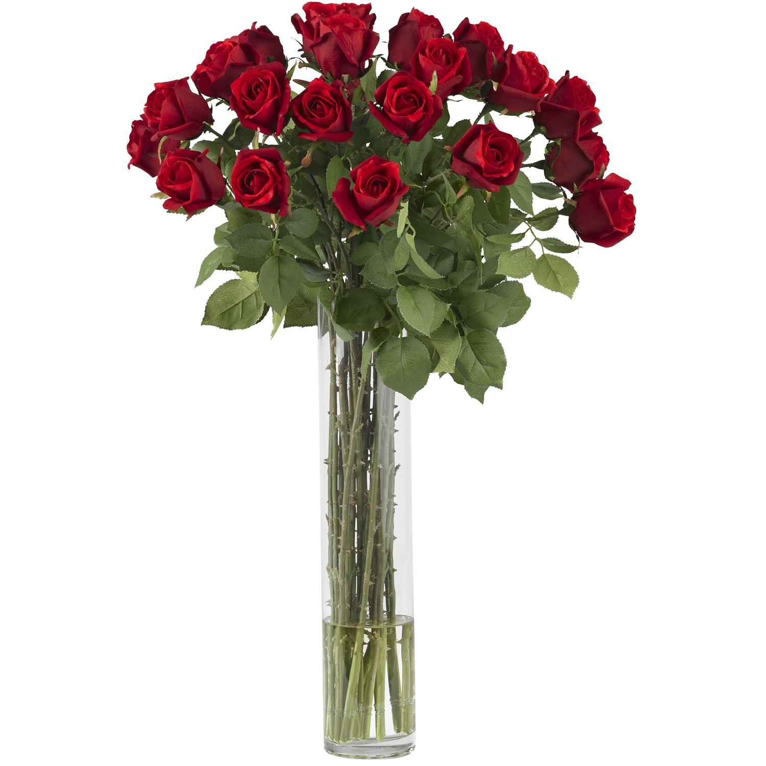 Red Nearly Natural 1218 Rosebud with Cylinder Silk Flower Arrangement