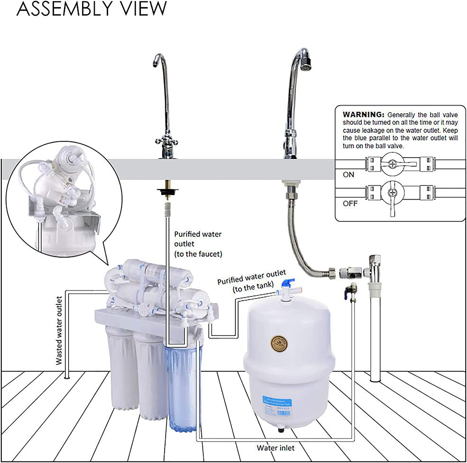 Yescom 5-Stage Home Healthy Drinking Water RO Reverse Osmosis System and Extra 8 Water Filters 50 GPD