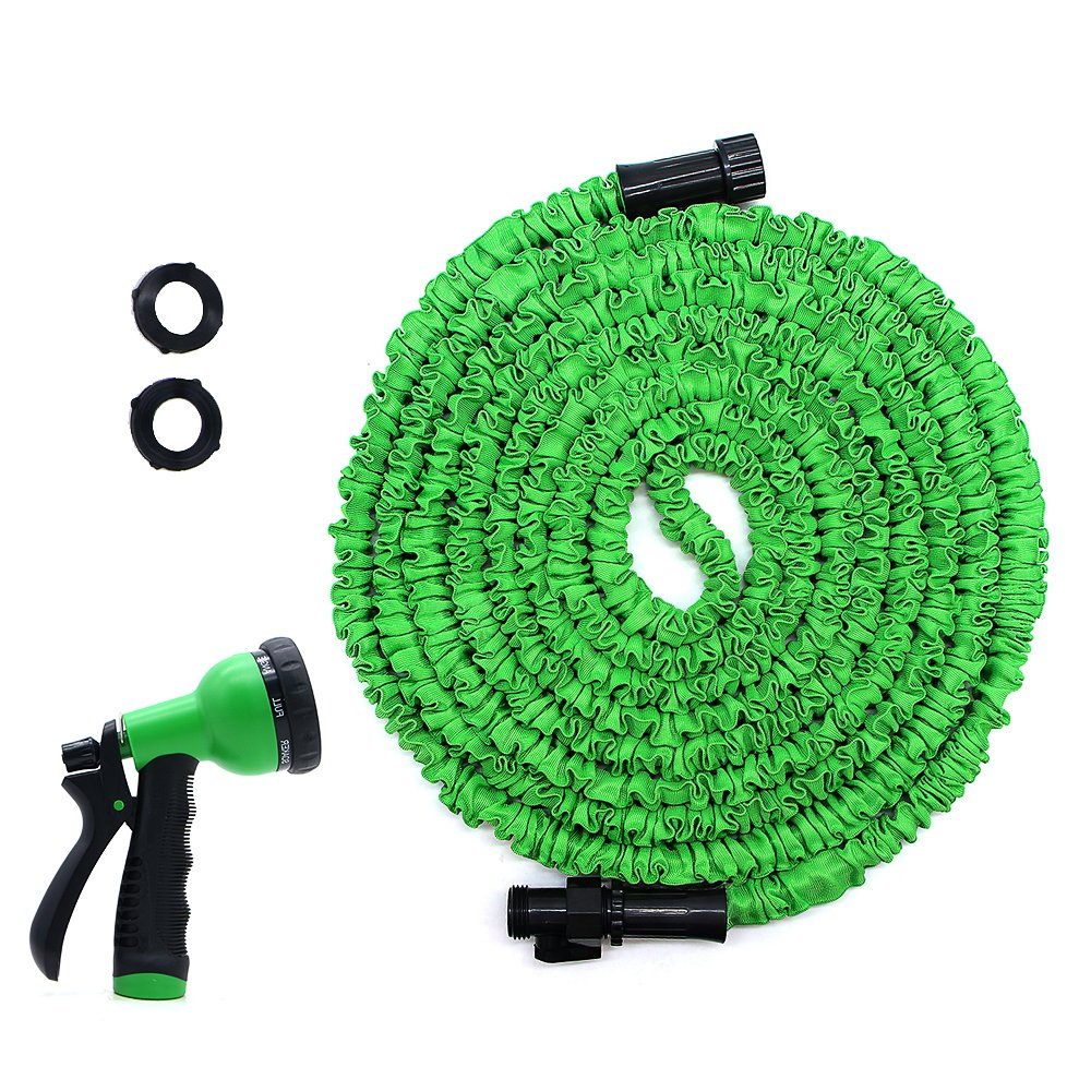 HooSeen Garden Hose, 50ft Expandable Water Hose, Lightweight Expanding Hose with Hose Nozzle for Car Washing, Garden Watering, Leak Resistant Connector, Double Latex Inner Tube