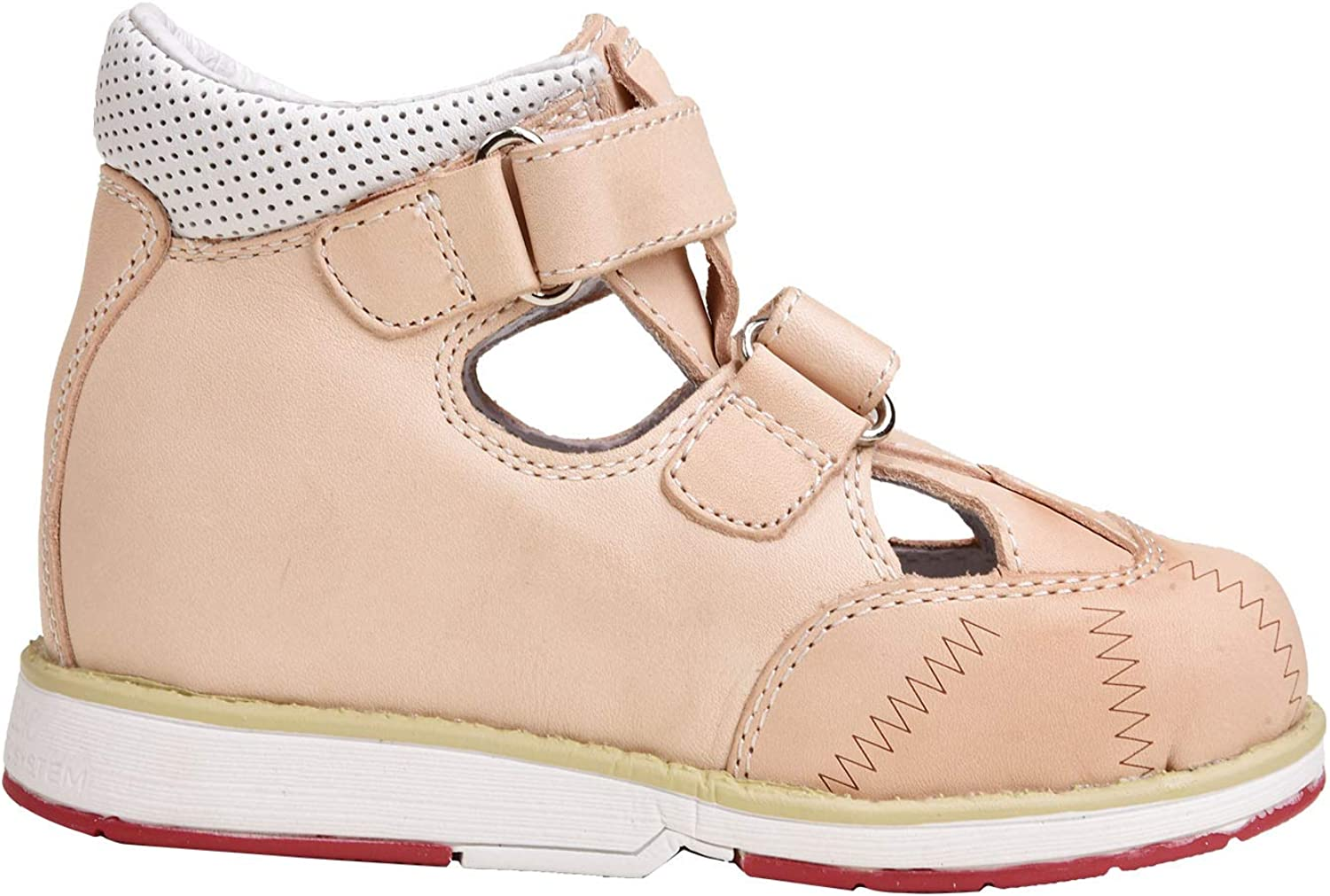 FREEDOMS KIDSS Health Shoes Orthopedic Fashion Apricot Leather Shoes with Arch Support for Girls in Spring and Summer