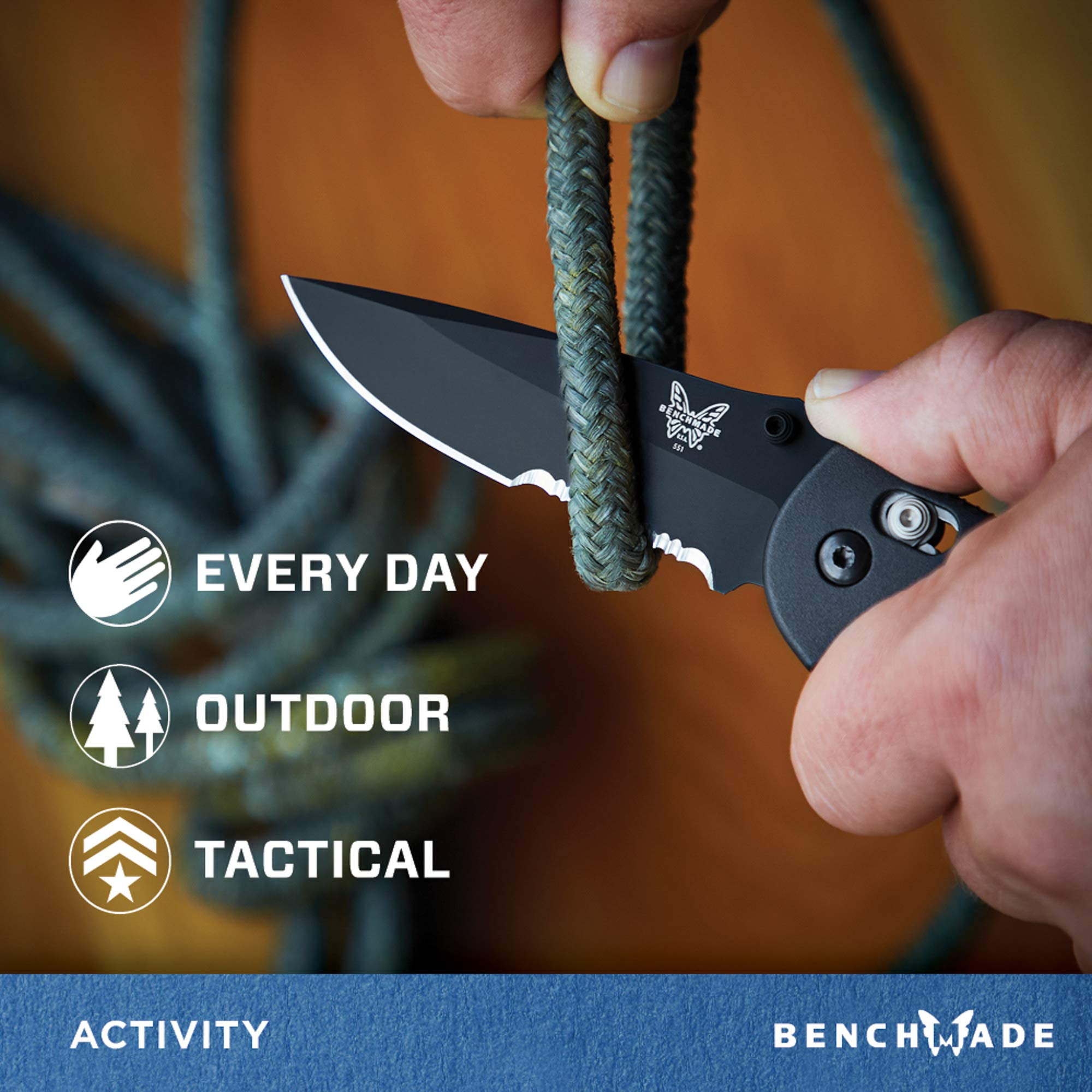 Benchmade - Griptilian 551 Knife with CPM-S30V Steel, Drop-Point Blade, Serrated Edge, Coated Finish, Black Handle by Benchmade (Image #4)