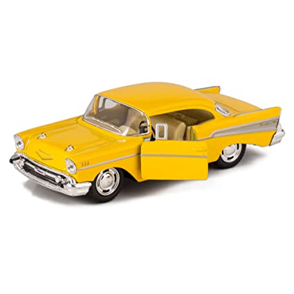 Amazon Kinsmart Yellow 1957 Chevy Bel Air Die Cast Toy With
